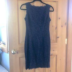 Adrianna Papell Navy Lace Zipper Shift Dress